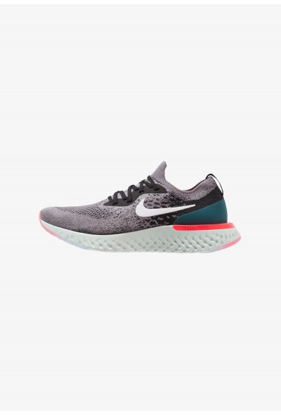 Nike EPIC REACT FLYKNIT - Chaussures de running neutres gunsmoke/white/black/geode teal/hot punch