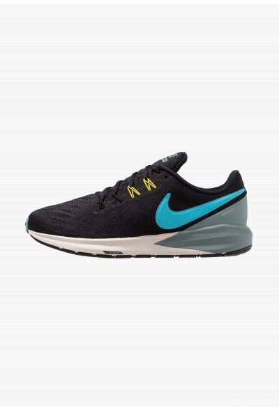 Nike AIR ZOOM STRUCTURE  - Chaussures de running stables black/blue fury/aviator grey/bright citron/light orewood brown