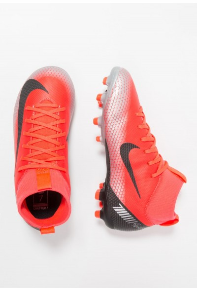 Nike MERCURIAL 6 ACADEMY GS FG/MG - Chaussures de foot à crampons bright crimson/black/chrome/dark grey