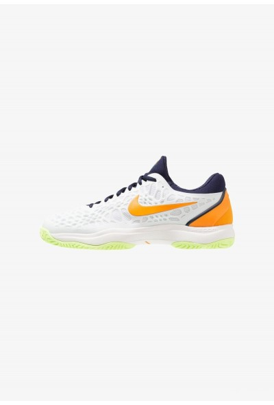 Nike AIR ZOOM CAGE 3 HC - Chaussures de tennis sur terre battue white/orange peel/blackened blue/phantom/volt glow