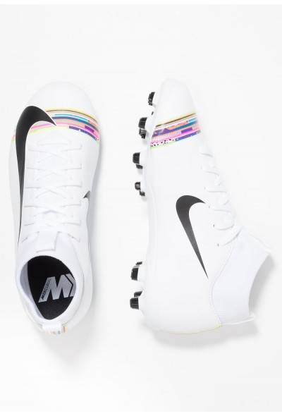 Nike MERCURIAL 6 ACADEMY GS FG/MG - Chaussures de foot à crampons - white/black white/black-pure platinum
