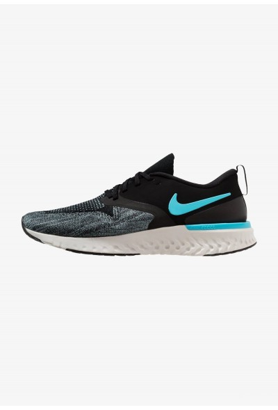 Nike ODYSSEY REACT 2 FLYKNIT - Chaussures de running neutres black/blue fury/aviator grey/platinum tint/yellow