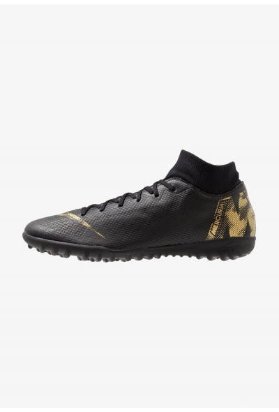Nike MERCURIAL SUPERFLYX 6 ACADEMY TF - Chaussures de foot multicrampons black/metallic vivid gold