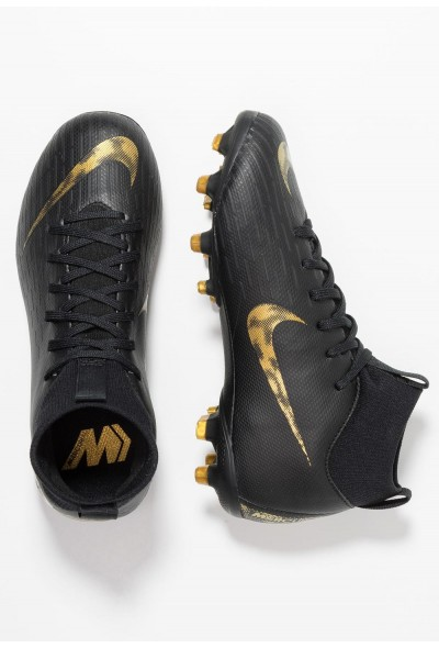 Nike MERCURIAL 6 ACADEMY MG - Chaussures de foot à crampons black/metallic vivid gold