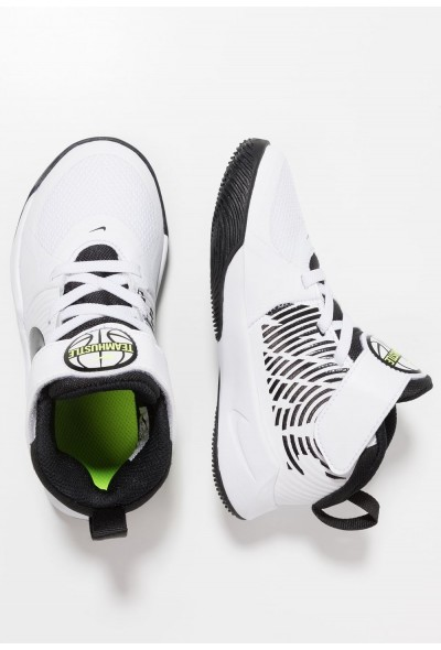 Nike TEAM HUSTLE 9  - Chaussures de basket white/black/volt