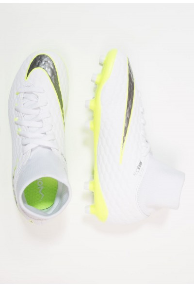 Nike PHANTOM 3 ACADEMY DF FG - Chaussures de foot à crampons white/chrome/volt