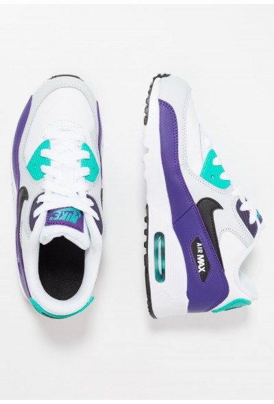 Nike AIR MAX 90 - Baskets basses white/black/hyper jade/court purple