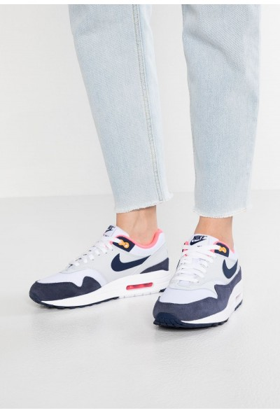 Black Friday 2019 - Nike AIR MAX 1 - Baskets basses white/midnight navy/pure platinum/racer pink/laser orange