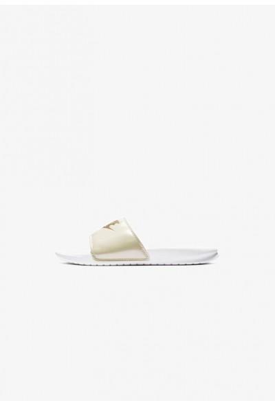Nike NIKE BENASSI JDI PRINT - Mules white/beach/metallic gold